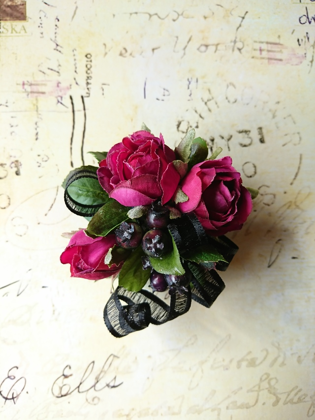 rose×ribbon corsage (オーキッドパー...