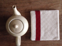 pot mat square: cotton(line/red)