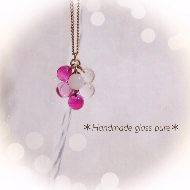 R-89 *ピンクベリー*ガラスの果実のネックレス