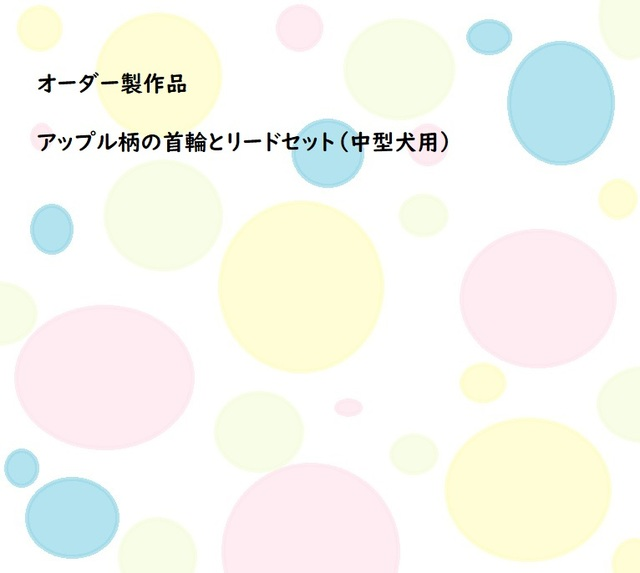 アップル柄の首輪とリードセット(中型...
