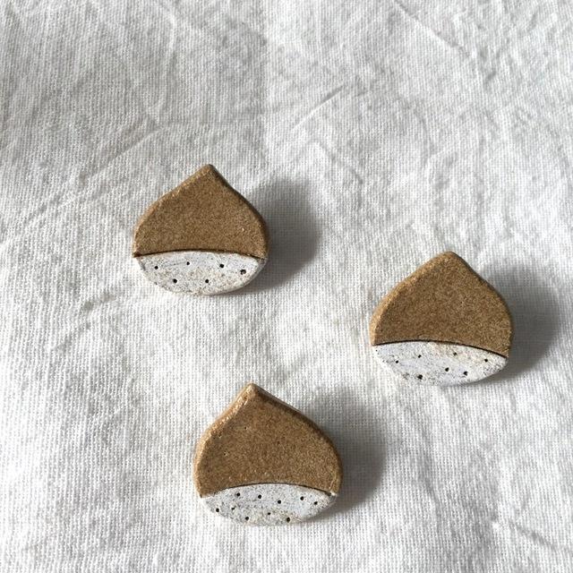【茶土】栗のブローチ*マロン