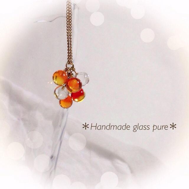 R-92 *オレンジベリー*ガラスの果実のネックレス