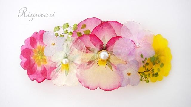 押し花のバレッタ 8cm(ビオラとジュリ...