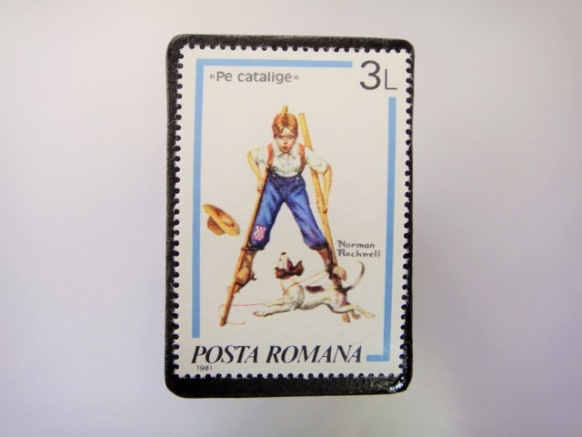 ルーマニア 切手ブローチ3376