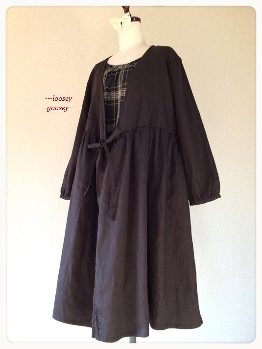 【SALE】リボン結びの羽織りワンピース:ダークブラウン:ヘリンボーン