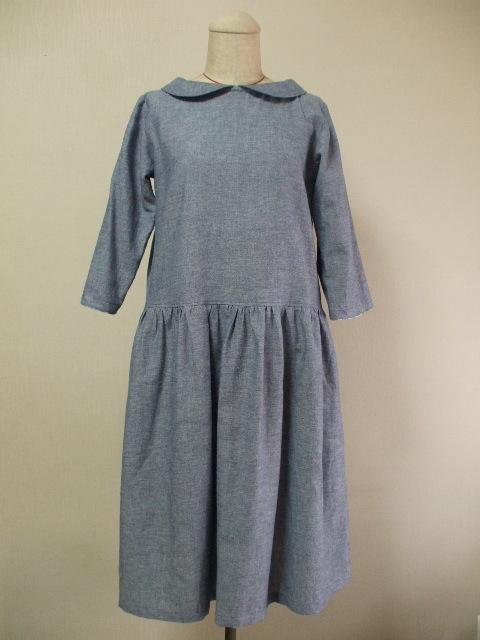 麻混素材 丸衿7分丈袖のワンピース L...