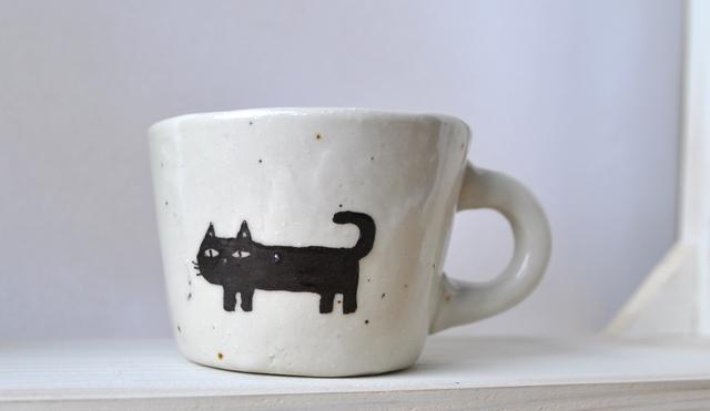 黒猫ねこスープカップ ワイドマグカップ