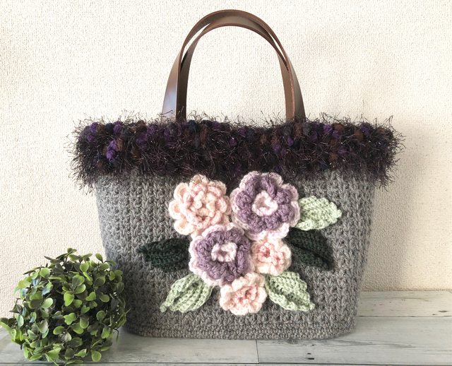 ♪あったかニットのお花かごバッグ No.4♪