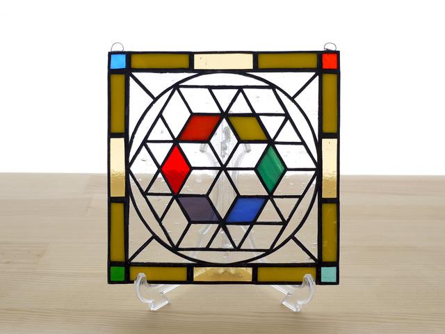 ステンドグラス ミニパネル 幾何学模様 15cm