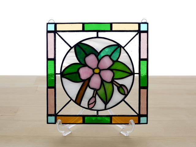 ステンドグラス ミニパネル 桜 15cm