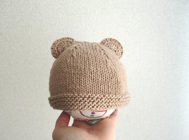 ★再販★コットンウールのくま耳帽子 42cm ベージュ