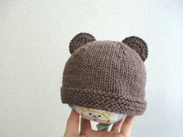 ★再販★コットンウールのくま耳帽子 42cm ブラウン