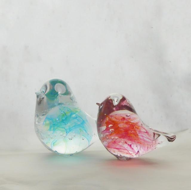 一点物★おひなさまのようなガラス小鳥ペア