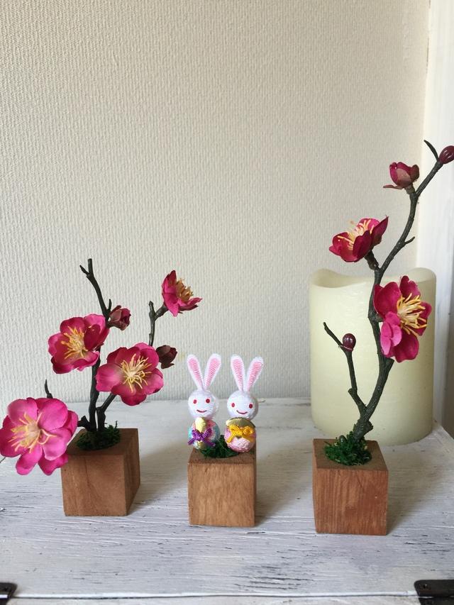 小さな植木鉢♪ひな祭りウサギ