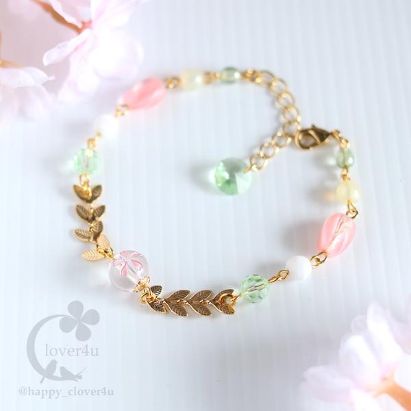 【さくら、咲く】桜彫刻の水晶と春色ビ...