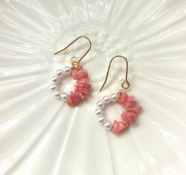 桜色のサークルピアス 天然石 ロード...