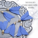 blue suede  ribbon charm~ 6pcs