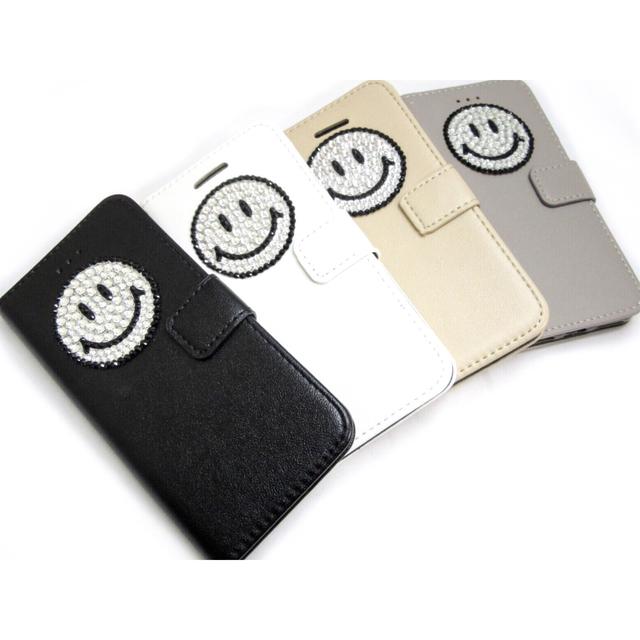 9b6a486790 にこにこスマイルiPhoneケース☆iPhone5/5s/5SE/6/6s/7/8対応手帳型 ...