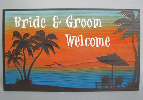 木彫りウェルカムボード「サンセットビーチ」