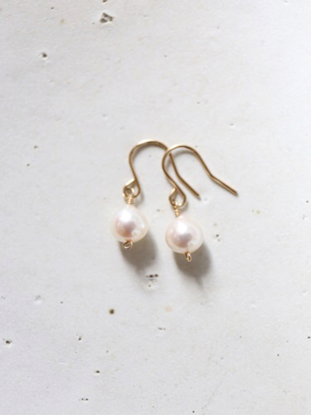 14KGF akoya pearl pierce or earring...