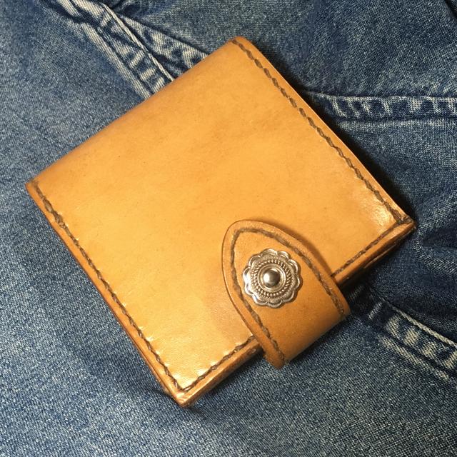 革手縫い二つ折り財布