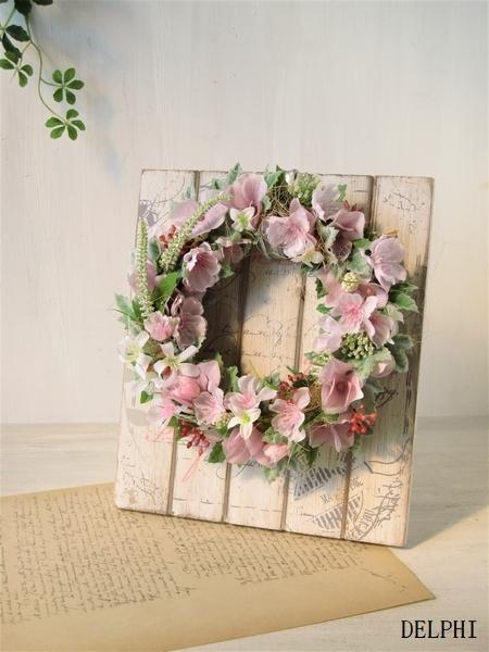 桜と小花のリース(木製リーススタンド...