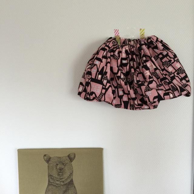 サイズ80-90* バルーンスカート *おうち模様