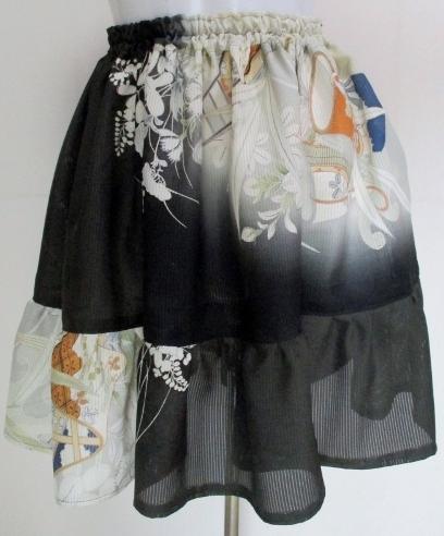 送料無料 絽の色留袖で作ったミニスカ...