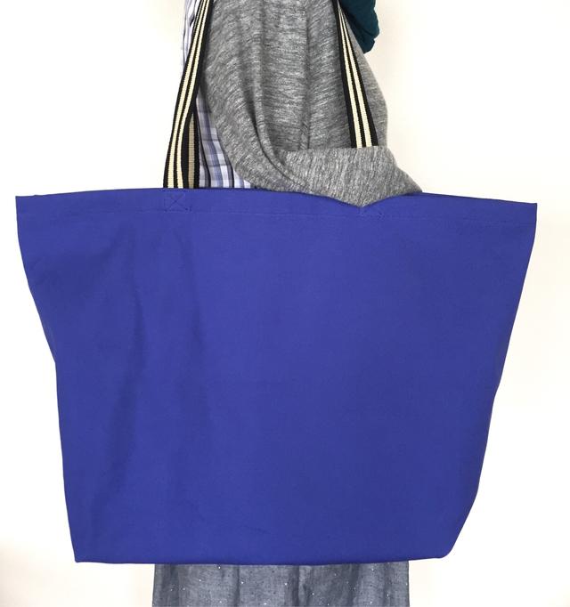帆布のbigトートバッグ*ブルー