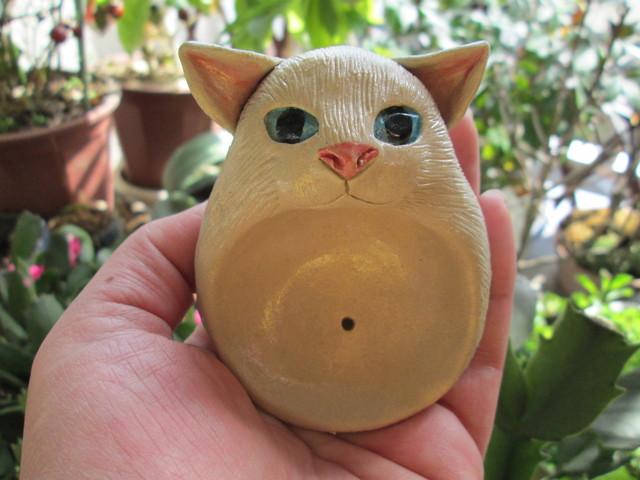 猫のお香立(白)