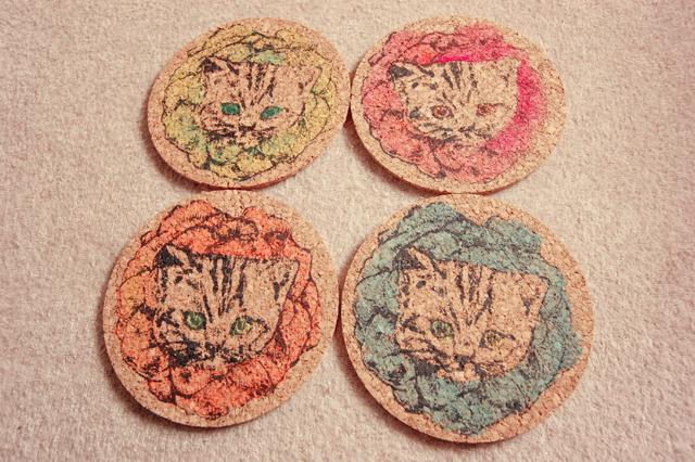 お花猫のコースター4枚セット