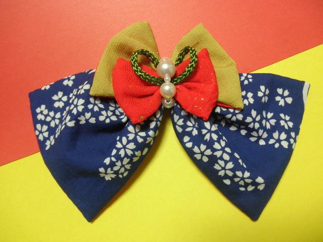 和乙女桜の髪飾り(バレッタ)