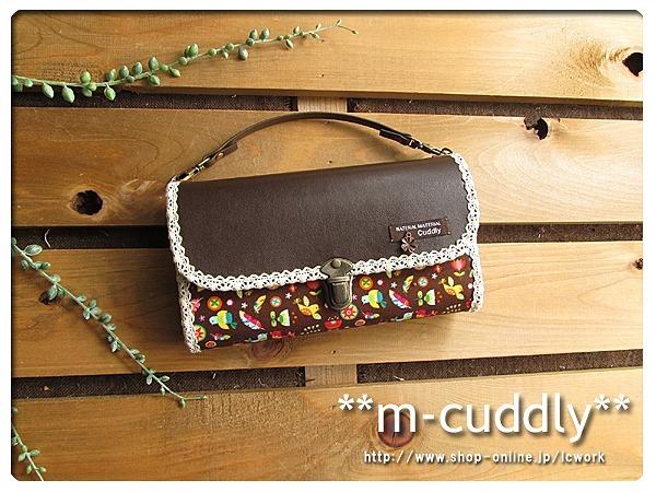 トロピカルな小鳥と合皮 長財布バッグ
