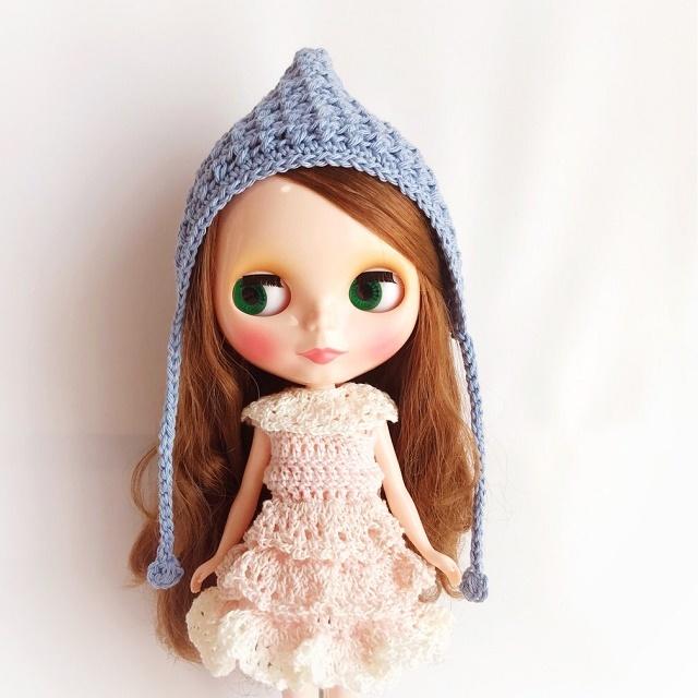 Doll☆コットンのとんがり頭巾*ブルー