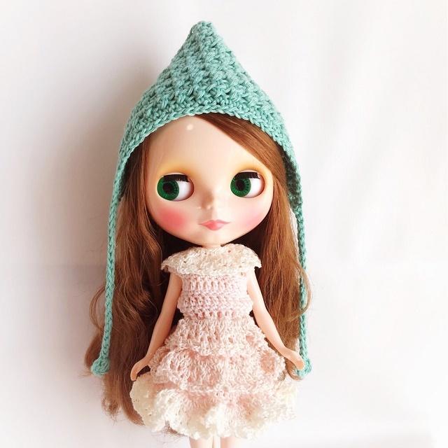 Doll☆コットンのとんがり頭巾*グリーン