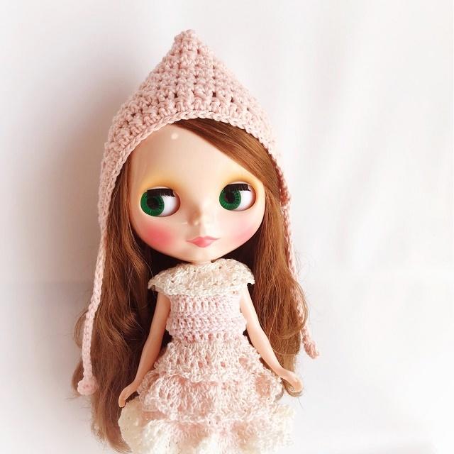Doll☆コットンのとんがり頭巾*ピンク