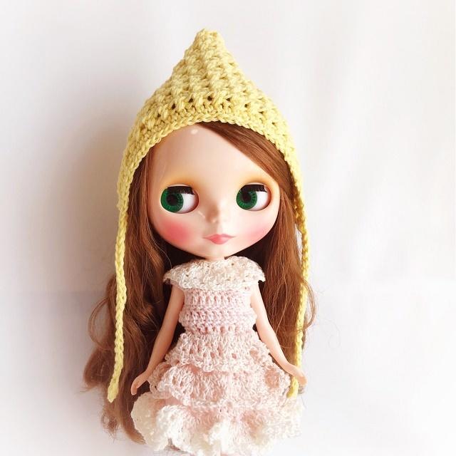 Doll☆コットンのとんがり頭巾*イエロー