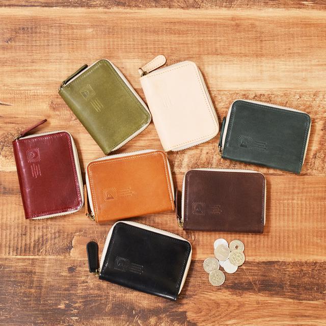 076d28050cd5 姫路産 内側まで馬のヌメ革で仕上げたラウンドファスナーのコインケース【カラー7色】 小さなお財布 名入れ刻印