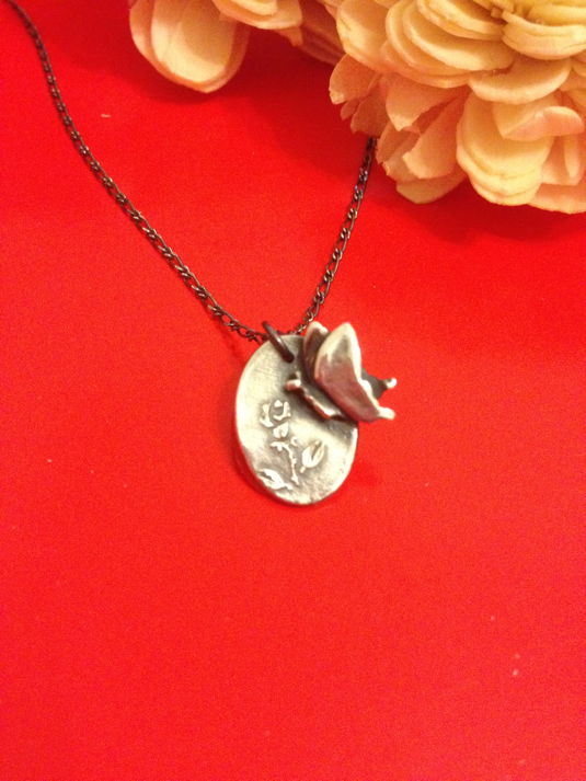 純銀*ネックレス 薔薇と蝶(N-6)