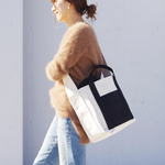 ZUCC SHOULDER TOTE BAG(キナリ×ブラック)