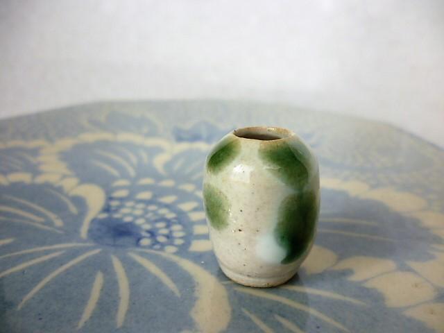 ミニチュア陶器☆花入 白緑