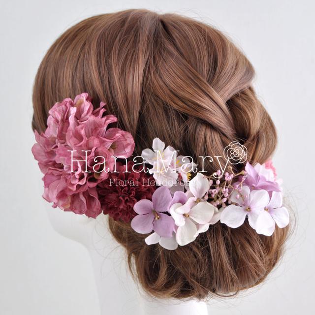 ダリアと紫陽花の髪飾り
