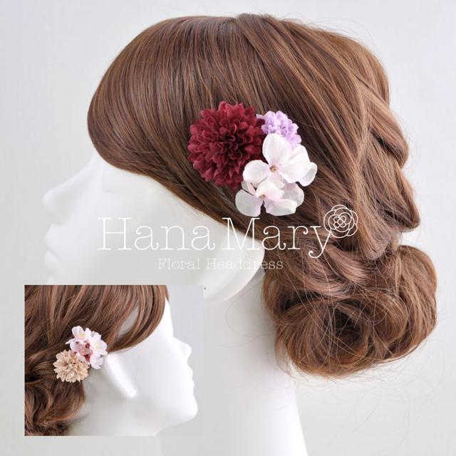 ピンポンマムと紫陽花の小ぶりな髪飾り