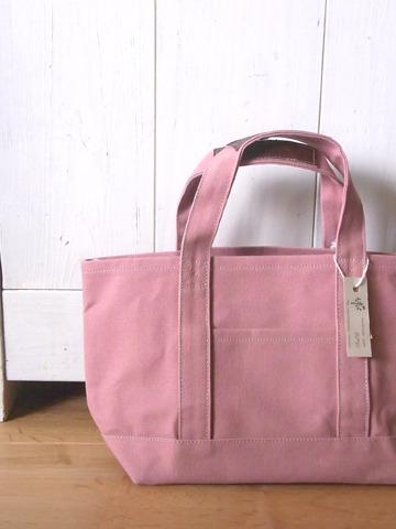 【再販なし】パラフィン帆布のトートバッグ  灰薔薇