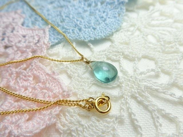 ブルーグリーンフローライト・一粒ネックレス「金具の選択可能!」
