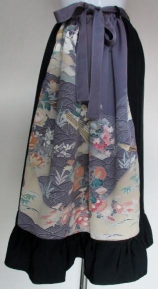 着物リメイク 花柄の振袖で作ったスカ...