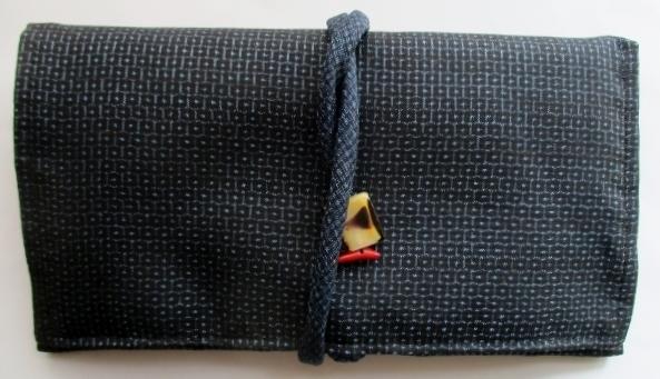 送料無料 藍大島紬の着物で作った和風...