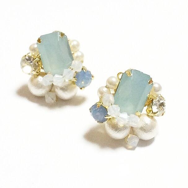 【送料無料】Pearl&Swaro Square Bijou Earring(ブルー)