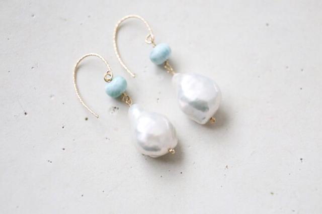 14KGF larimar baroque pearl pierce[...