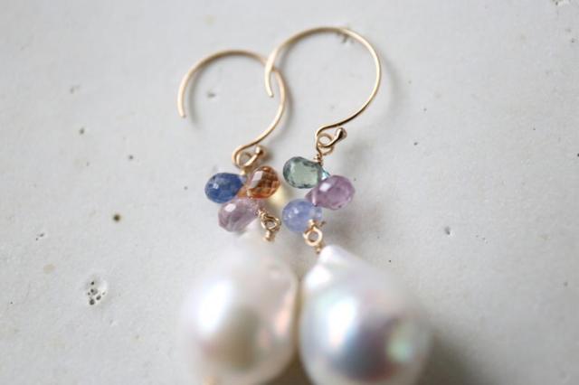 14KGF sapphire baroque pearl pierce...